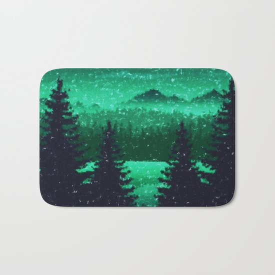 Snowing in the forest Bath Mat
