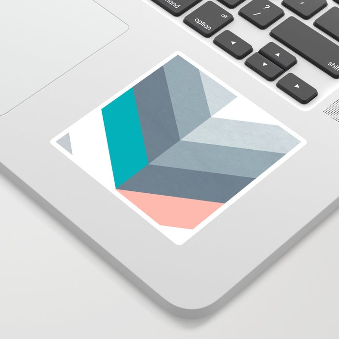 Vertical Chevron Pattern - Teal, Coral and Dusty Blues #geometry #minimalart #society6 Sticker