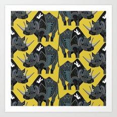 rhinoceros yellow Art Print
