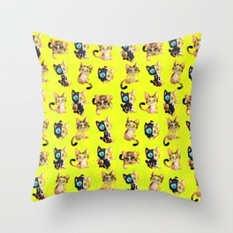 Cats in a blanket pattern design Throw Pillow