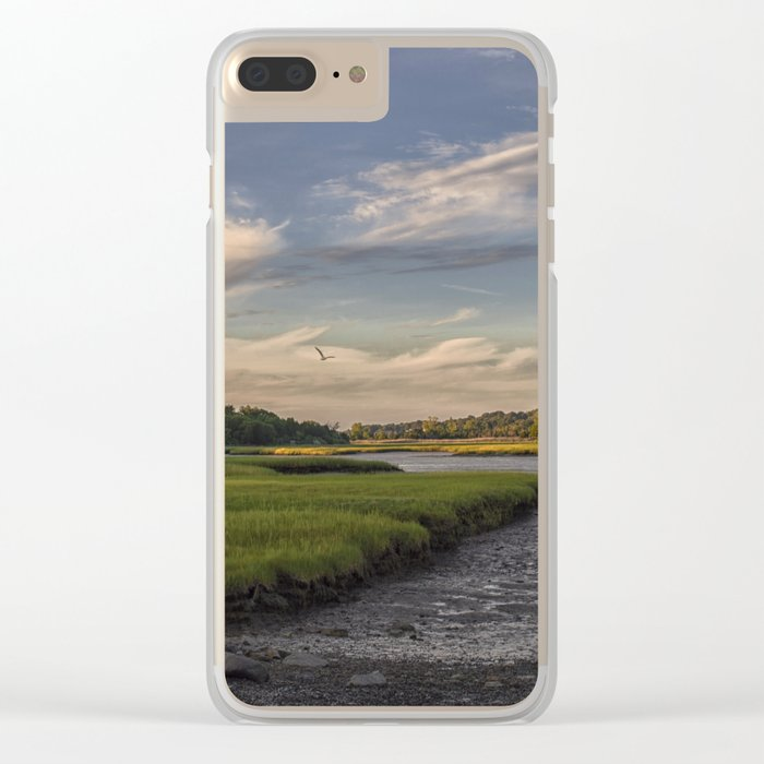Summer Marsh Sunset Clear iPhone Case