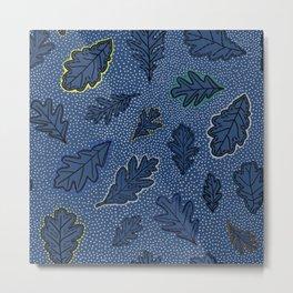 Leaves Picotage Large Scale Indigo Metal Print