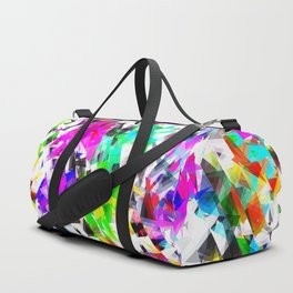 psychedelic geometric triangle polygon pattern abstract background in pink blue purple green yellow Duffle Bag