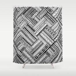 Tribal Ethnic Style  Black & White Shower Curtain