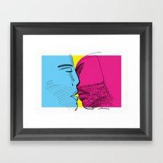 Primary kiss Framed Art Print
