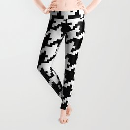 Houndstooth Black and White Winter Color Pattern  Leggings