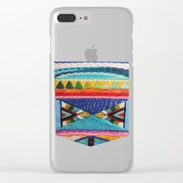 Rainbow Tribal Embroidery Clear iPhone Case