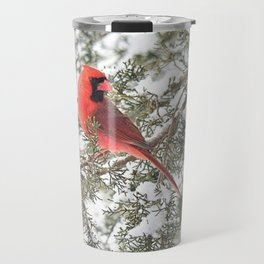 Cardinal on a Snowy Cedar Branch (sq) Travel Mug