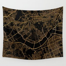 Black and gold Seoul map Wall Tapestry