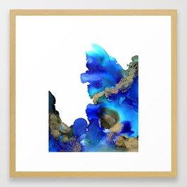 Blue Waves of Gold Framed Art Print