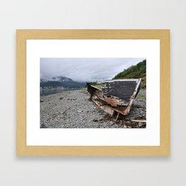 Old boat in Juneau, AK Framed Art Print