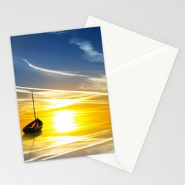 Lonely Sail boat digital painting Stationery Cards