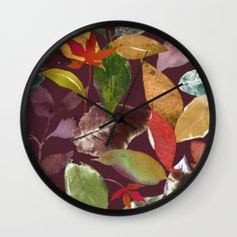 Deep Mulberry Autumn Leaves Wall Clock
