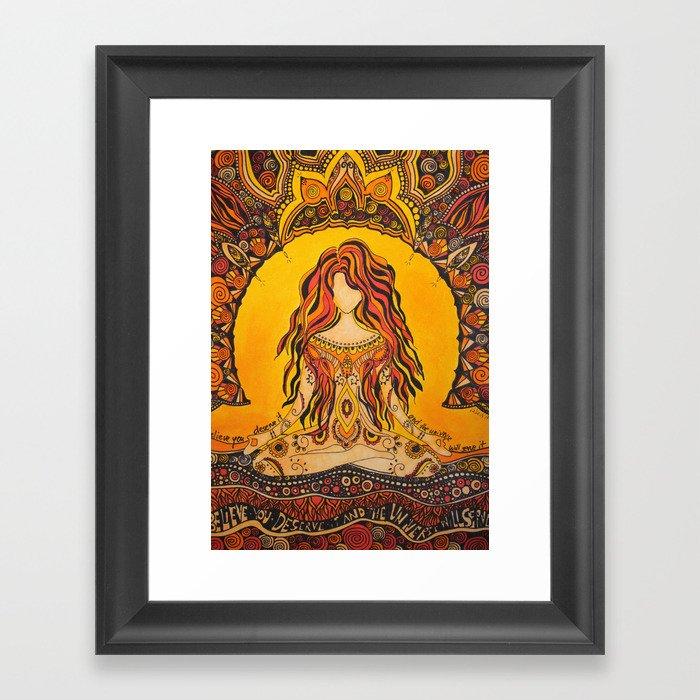 Meditation woman Gerahmter Kunstdruck