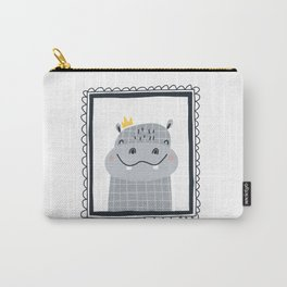 Baby print with a cute hippopotamus in the frame.Hand drawn illustration in Scandinavian style. Carry-All Pouch