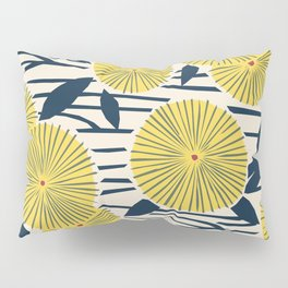 vintage, retro yellow, red and navy flower pattern Pillow Sham