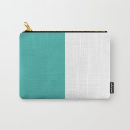 White and Verdigris Vertical Halves Carry-All Pouch