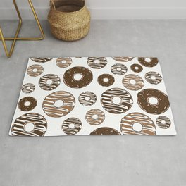 Donut Pattern, Chocolate Donuts, Caramel Donuts Rug
