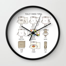 toilet paper types Wall Clock