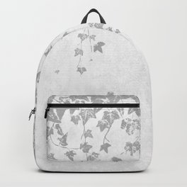 Soft Silver Gray Trailing Ivy Leaf Print Backpack