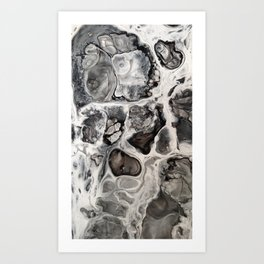 """Black, Silver and White Fluid Painting - """"Obsidian"""" Rock Art Print"""