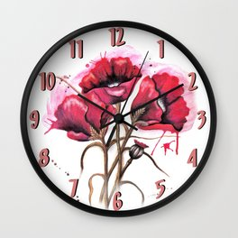 Lisa's Red Poppies Wall Clock