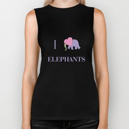 I Heart Elephants Biker Tank