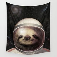 sloth Wall Tapestries featuring Space Sloth  by Eric Fan