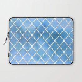 Moroccan Trellis, Latticework, Watercolors - Blue Laptop Sleeve