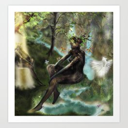 Woodwoses and the dream Forest [Single Panel version] Art Print