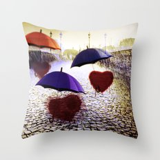 Three Lonely Hearts In the Rain Throw Pillow