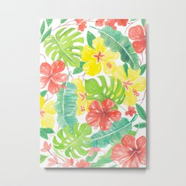 Tropical garden, hibisus, plumeria and palm leaves Metal Print
