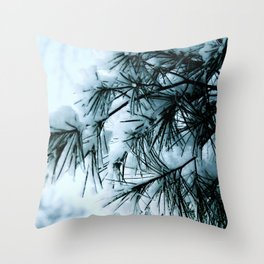 Woodland Snowy Pines Throw Pillow