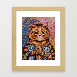 Cat and Her Kittens-Louis Wain Cats Framed Art Print