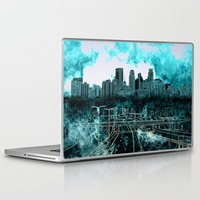 minneapolis Laptop & iPad Skins featuring minneapolis city skyline by Bekim ART