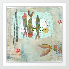 Fishy Feast Art Print