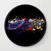 sport Wall Clocks featuring sport car by mark ashkenazi