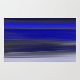 Dark Night Seascape Abstract In Blue Rug
