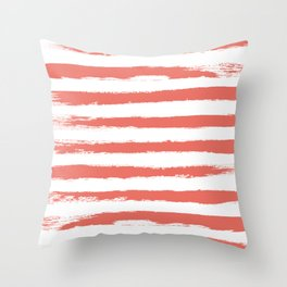 Living Coral STRIPES Handpainted Brushstrokes Throw Pillow