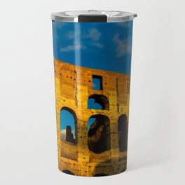 Sunset Over The Roman Colosseum Travel Mug