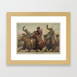 Vintage Finish Line Horse Jockeys Illustration (1891) Framed Art Print