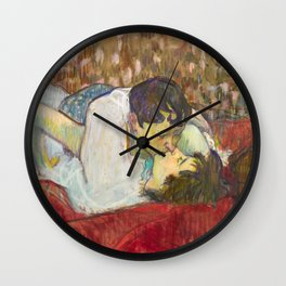 """Henri de Toulouse-Lautrec """"In Bed. The Kiss"""" Wall Clock"""
