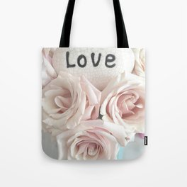 Shabby Chic Romantic Pink Roses Love Print Home Decor Tote Bag