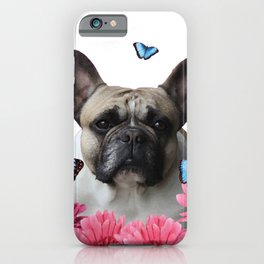 Pug with butterflies and Gerbera Flowers iPhone Case