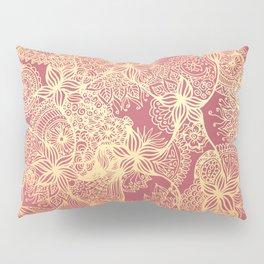 Pink and Gold Mandala Doodle Patterns Pillow Sham
