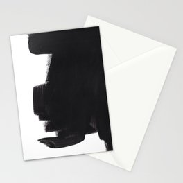 Black And White Minimalist Mid Century Abstract Ink Art Color Block Ominous Abstraction Stationery Cards