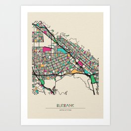 Colorful City Maps: Burbank, California Art Print