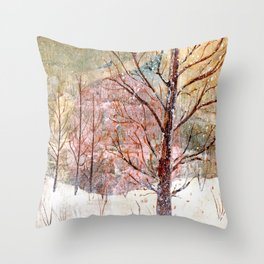 Blood Moon Rising over Snowy Dewdrop Holler Throw Pillow