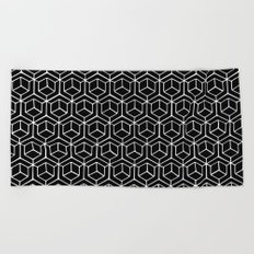 Hand Drawn Hypercube Black Beach Towel
