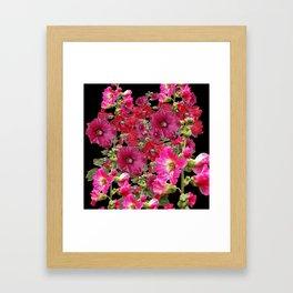 WESTERN  PINK HOLLYHOCKS PATTERNED ART Framed Art Print